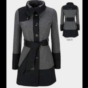 Black Rivet Grey & Black Colorblock Coat